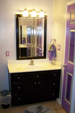 PURPLE, BLACK, GRAY BATHROOM , My son wanted a purple and black bathroom. I added the gray to calm things down a little. I also painted the cabinets and mirror a high gloss black., Bathrooms Design