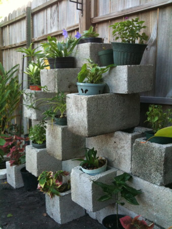 DIY Planters, Stacking cinder blocks in a creative pattern makes great for a custom planter. Got the idea from a DIY site. Very easy, quick setup and adds originality to anyone's garden., Averaged around 20+ cinder blocks to create this project., Gardens Design