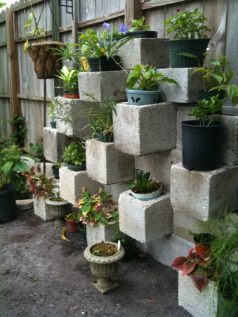 DIY Planters, Stacking cinder blocks in a creative pattern makes great for a custom planter. Got the idea from a DIY site. Very easy, quick setup and adds originality to anyone's garden., Gardens Design