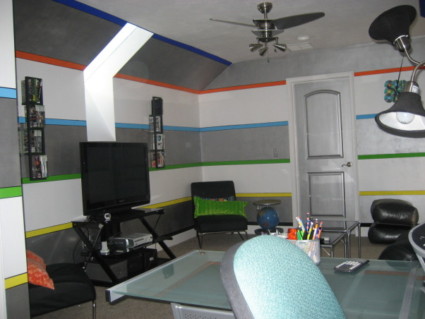 Modern Teen Gameroom and Computer area, A game room designed for teen-aged boys and a computer area where activities can be easily viewed and supervised., Media Rooms Design