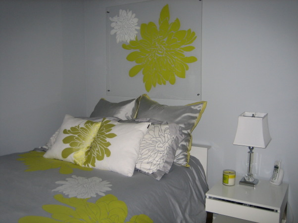 20 year olds bedroom, This clean refined space was overdue, my 20 year old daughter and I created what I think is a perfect space, This color pallet is wonderfully clean and chic, I made the art work over the bed., Bedrooms Design