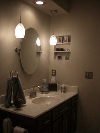 $450 bathroom update Before/After, This is my hall bath redo. I was inspired by another ratemyspacer who told me where to get the shower curtain she had in her space. I love the results for a total of $450 bucks!, I added these pendant lights and replaced the big wall mirror with this more updated tilting spa mirror. Took out the old medicine cabinet and put some drywall and shelves in it for a custom look. It took some patience but it sure is cool! , Bathrooms Design