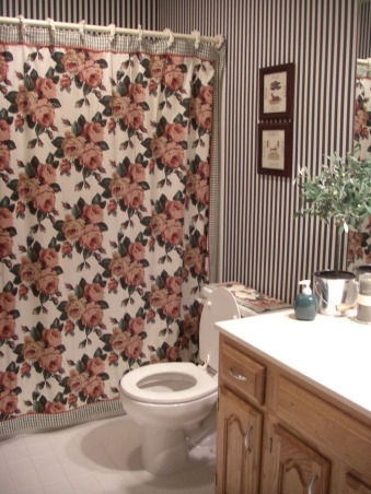 $450 bathroom update Before/After, This is my hall bath redo. I was inspired by another ratemyspacer who told me where to get the shower curtain she had in her space. I love the results for a total of $450 bucks!, Old bath...bad picture....dated room! , Bathrooms Design