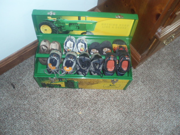 John Deere Boys' Room , I have 3 girls and 1 Boy !!!!!, So I need a place to put his shoes so i put the in his tool Box For  Now !!!   , Boys' Rooms Design