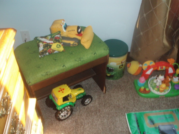 John Deere Boys' Room , I have 3 girls and 1 Boy !!!!!, Found this stool at a Yard sale just recovered it to make it work with the room!   , Boys' Rooms Design