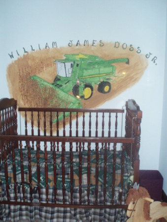 John Deere Boys' Room , I have 3 girls and 1 Boy !!!!!, above my kids crib I painted this just RIGHT So when He Goes to a Big Boys Bed It will fit    , Boys' Rooms Design