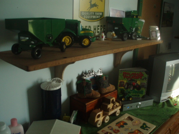 John Deere Boys' Room , I have 3 girls and 1 Boy !!!!!, The Shelf is Barn wood From a 1900's barn plained it and put it up the wood looks Great!   , Boys' Rooms Design