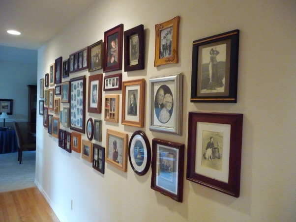 Family Photo Gallery, My entry hall was bland and boring until I hung a collection of family photos., It was fun to put photos in a 4 opening frame of my husband, myself and our two daughters all taken at about 7 years of age., Living Rooms Design