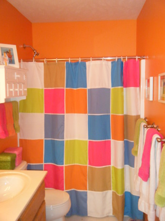 "Tropical Kids, My 3 kids (2 boys & 1 girl) share a hall bath so I wanted to decorate it ""gender neutral""...bright colors with Hawaii/surf accents were the solution., Husband picked out wall color and then I found the shower curtain. , Bathrooms Design"