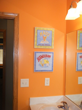 "Tropical Kids, My 3 kids (2 boys & 1 girl) share a hall bath so I wanted to decorate it ""gender neutral""...bright colors with Hawaii/surf accents were the solution., Hawaii plaques I found at Target. , Bathrooms Design"