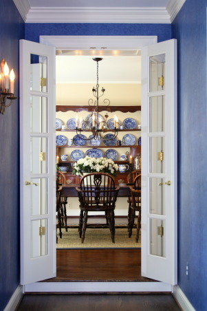 Dining Room, Our dining room with an Ironworks chandelier, a 19th C French Cherry Farm Table, English Yew Wood Windsor Chairs, Staffordshire collection, and a White English 19th C Footbath with white azaleas, Mirrored French Doors leading to our dining room with an Ironware chandelier and antique furniture.    , Dining Rooms Design