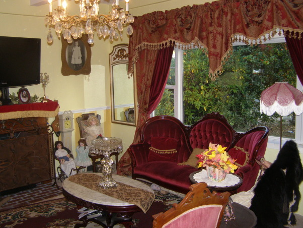 Victorian Living Room, Here's a view of my chandelier.  When we moved in all the rooms had ceiling fans and I fortunately had the chandelier before we bought our house.  They are in every room.   , Living Rooms Design
