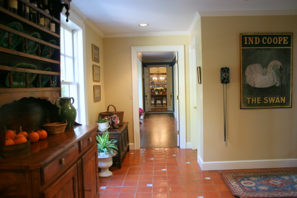 Back Hallway/Mudroom, I don't know what to call this area other than a back hallway or mud room.  It is actually a side entrance, but 95% of our visitors come in this door because it is closest to the driveway., This is our side entrance, back hallway and/or mud room.  The focal point of the dining room as you enter from this side door makes it as nice to me as our main entrance.  We have a 19th C French Cherry Deux Corps  and an 18th C English coffer in here as we just couldn't part with them yet.   , Other Spaces Design