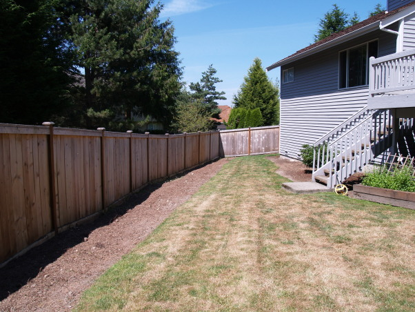 Japanese Zen Backyard, Just completed Zen backyard using plants that are native to the Pacific Northwest.  This is wonderful design for small backyard spaces., The original back yard was triangular shaped with 35 arborvitae next to the fence which made the yard feel even narrower than it is.  And it's narrow!    , Yards Design