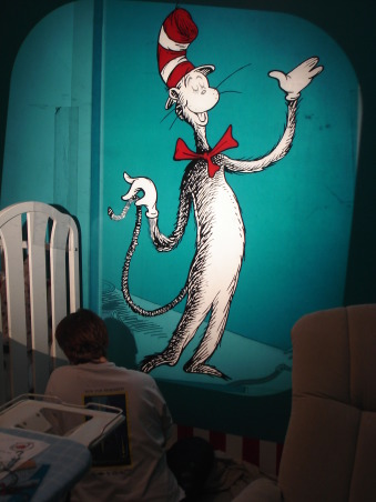 The Cat in the Hat Nursery, After visiting Universal studios 4 months pregnant and only being able to ride the kiddie rides, I was inspired by the Dr. Suess rides to create a Suess Nursery., Finishing the Cat in the Hat details, Nurseries Design