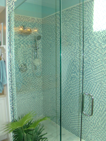 Master Bathroom Remodel, Sophisticated, contemporary Master Bathroom with a little bit of sparkle! The focal point is the shower with blue mosiac tile and a new glass door enclosure. Wanescoting and teal walls add to the beach feel. And new sand countertops speak to the new tan tile floor.  A separate vanity area and private corner finish off this Master Bath. Heavenly and a dream come true!, Blue mosiac tile was the inspirtation for the colors I used.   , Bathrooms Design