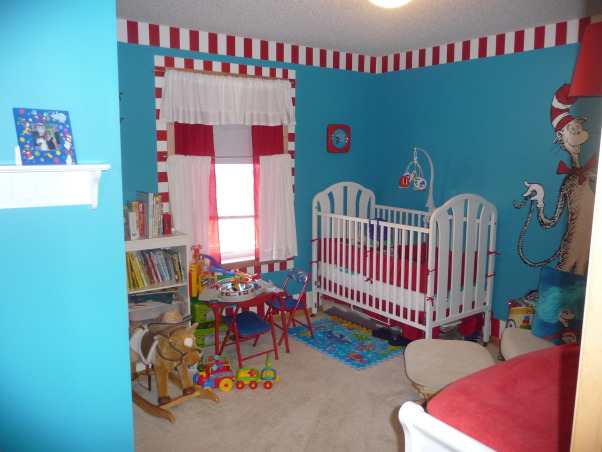 The Cat in the Hat Nursery, After visiting Universal studios 4 months pregnant and only being able to ride the kiddie rides, I was inspired by the Dr. Suess rides to create a Suess Nursery., Nurseries Design