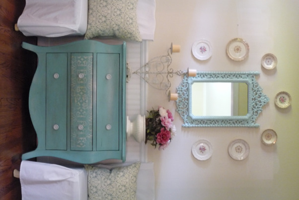 Turquoise hallway off the Living room, My little hallway in my new but old house. I repainted the mirror and bombay chest in my favorite color of course and then hung my collection of plates., Living Rooms Design
