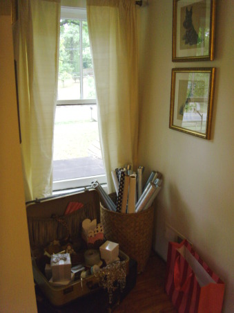 Boutique dressing room, Shabby chic girly dressing room, This is my wrapping paper\craft area. I love the old suitcase filled with interesting little paper, cards and boxes. Makes you want to dip in and see what u find. , Other Spaces Design