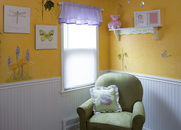 Enchanted Fairy Garden Nursery, This nursery was created special for my little peanut. I wanted something different and unique from your typical pink baby's room.   We created an enchanted fairy garden. We began the process with putting up wanes coating and then doing a faux finish on the top, we added a custom mural of fairies throughout her room.   The colors in her room are yellowish-gold, purple, white, and green. We did a simple bedding of flowers and custom-made valances to dress up the windows.   We made a tree out of paper mache and turned it into a nightlight for her.   We hung a chandelier and some 3-dimensional birdhouses above the tree.   This room my daughter is able to grow within and will convert easily to a toddler room when the time comes. , Nurseries Design