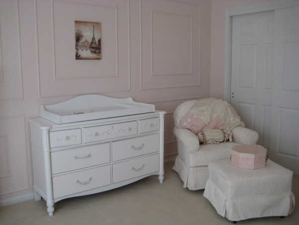 Sophia's Ballerina Nursery, This is the nursery we built for our future daughter Sophia Nicole. We wanted a nursery with a little romance, a little of France and a little Ballet which combine my passion for dance and my husband's passion for travelling. Thanks for checking it out and rating it, we appreciate the feedback!, Our glider chair is not only comfortable but also so super soft!, Nurseries Design