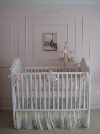 Sophia's Ballerina Nursery, This is the nursery we built for our future daughter Sophia Nicole. We wanted a nursery with a little romance, a little of France and a little Ballet which combine my passion for dance and my husband's passion for travelling. Thanks for checking it out and rating it, we appreciate the feedback!, We are a DIY couple, so all this molding on the wall was my design and my husband put it up. It took him over 3 weekends to do given the size of the room., Nurseries Design