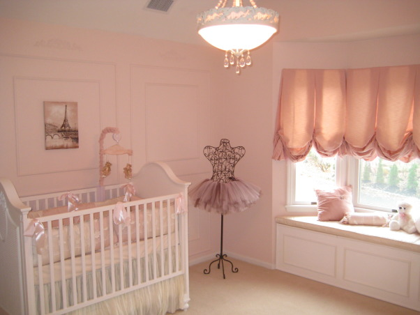 Sophia's Ballerina Nursery, This is the nursery we built for our future daughter Sophia Nicole. We wanted a nursery with a little romance, a little of France and a little Ballet which combine my passion for dance and my husband's passion for travelling. Thanks for checking it out and rating it, we appreciate the feedback!, Here is a corner view including the beautiful chandelier we picked up to complement the nursery., Nurseries Design
