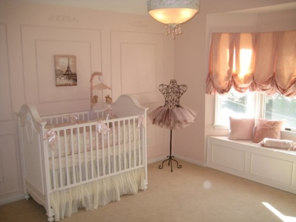 Sophia's Ballerina Nursery, This is the nursery we built for our future daughter Sophia Nicole. We wanted a nursery with a little romance, a little of France and a little Ballet which combine my passion for dance and my husband's passion for travelling. Thanks for checking it out and rating it, we appreciate the feedback!, This ballerina mannequin and the crib bedding were the inspiration pieces for the nursery..., Nurseries Design