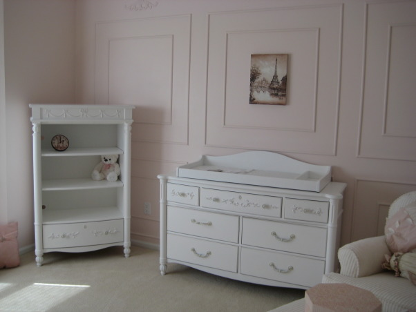 Sophia's Ballerina Nursery, This is the nursery we built for our future daughter Sophia Nicole. We wanted a nursery with a little romance, a little of France and a little Ballet which combine my passion for dance and my husband's passion for travelling. Thanks for checking it out and rating it, we appreciate the feedback!, We are yet to fill the shelves in the nursery as I want to find the special pieces that will suit the theme of the room., Nurseries Design