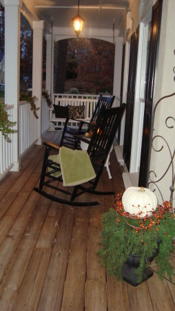 My Porch in the Fall, This is my front porch in the Fall.  I flanked the front door with fall foliage, pumpkins and gourds.  I even added some pumpkins to my ivy baskets on the porch railings.  Now all that is needed is some hot apple cider and the smell of leaves burning., Now that's better! , Porches Design