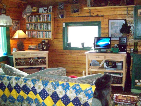 Small Alaskan Cabin, A small rustic Alaskan cabin in the wild woods.  Three sided log 16x20 cabin with half loft., This is the living room right that is in front of the kitchen since all the cabin is one open room everything runs together.  , Kitchens Design