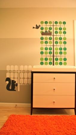 Modern Tangerine forest, Gender-neutral nursery, Changing Table  , Nurseries Design
