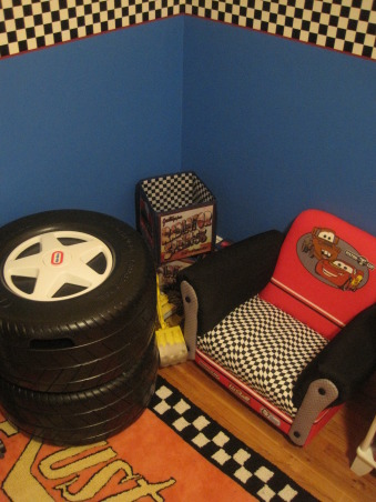 Disney Cars Lightning Mcqueen/ Mater Room, My 3 year old is a fan of the Disney Cars movie. His favorite car being Lightning Mcqueen and Mater. I was inspired by the rug and the checkered border around it., Boys' Rooms Design