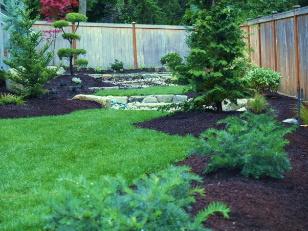 Japanese Zen Backyard, Just completed Zen backyard using plants that are native to the Pacific Northwest.  This is wonderful design for small backyard spaces., Yards Design