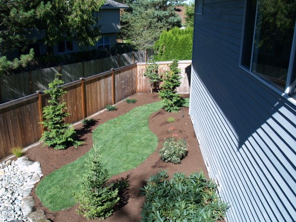 Japanese Zen Backyard, Just completed Zen backyard using plants that are native to the Pacific Northwest.  This is wonderful design for small backyard spaces., View from the deck above., Yards Design