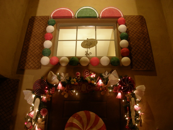 Gingerbread House, We decorated the outside of our house to look like a gingerbread house. , Entry to the house. Windows made out of Lemon wedges, gumballs and wafer cookies  , Holidays Design