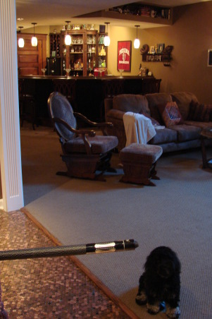 """Penny Floor"" game room, 52,000 pennies used for our game room floor.Custom bar with early 1900's woodwork. Cozy fireplace surrounded in slate tile with a solid oak mantel. , Looking into living area from the game room. Notice the custom bar behind the living area. , Basements Design"