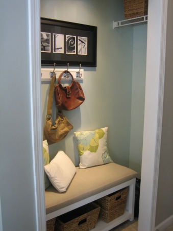 Mini Mudroom, Hall closet turned mini-mudroom for our busy family., We turned our hall closet into a mini-mudroom by removing the closet door and widening the doorway about 6 inches. , Other Spaces Design