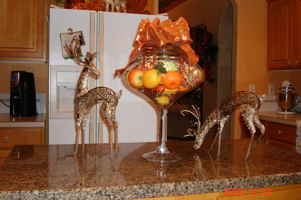 Christmas Home Tour, winter wonderland in master bath, This is our kitchen island.  Again the raindeer theme was also in the kitchen. In the kitchen I used copper, lime green, and blue., Holidays Design