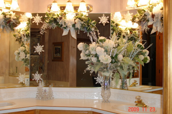 Christmas Home Tour, winter wonderland in master bath, This is the counter in our master bath. My home was on a charity Christmas tour in our community.     , Holidays Design