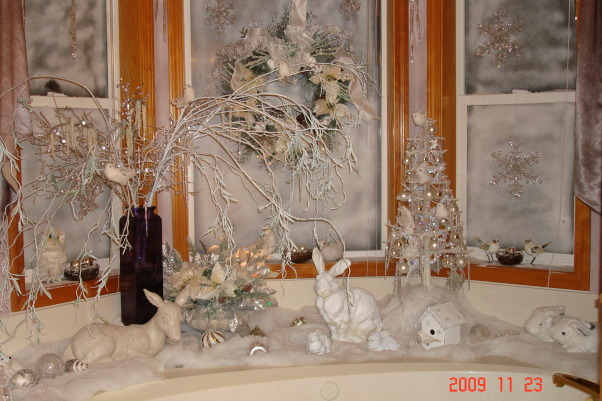 "Christmas Home Tour, winter wonderland in master bath, This is our tub area. Doesn't this look like a winter wonderland"" I decorated the whole house for a children's hospital charity home tour.   , Holidays Design"