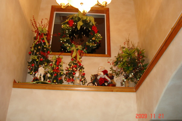 Christmas Home Tour, winter wonderland in master bath, This is looking up in our entryway. , Holidays Design