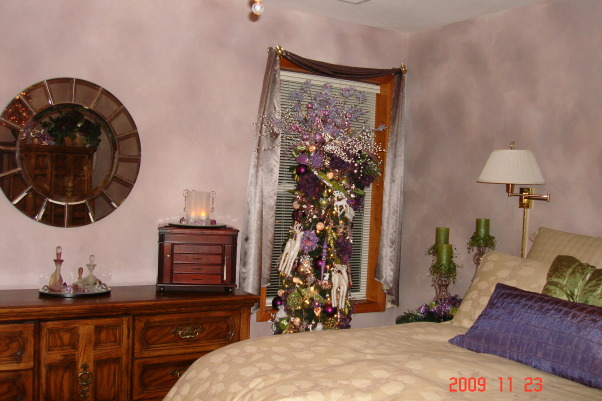 Christmas Home Tour, winter wonderland in master bath, This is our master bedroom.  The colors are lavender, purple and lime green.  The tree is called a pencil tree. , Holidays Design