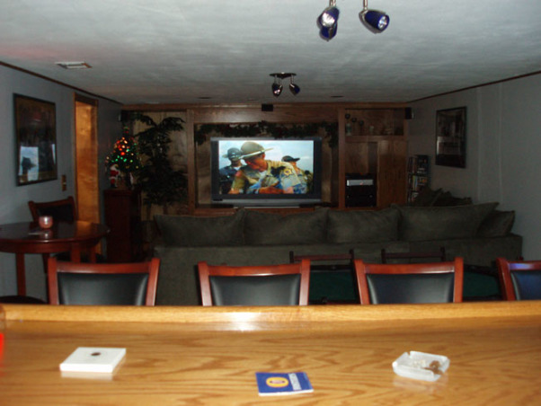 Man Cave, Custom Bar and Entertainment Center, Man Cave room with entertainment center and bar, Basements Design