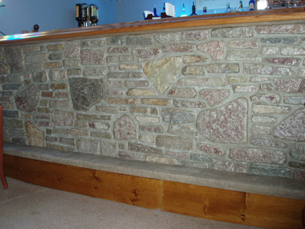 Man Cave, Custom Bar and Entertainment Center, Natural stone bar facing using nsvi stone, Basements Design