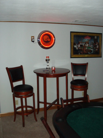 Man Cave, Custom Bar and Entertainment Center, High table & bar chairs, Basements Design