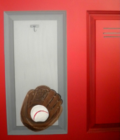 Closet of lockers!, This sports room was created for a very athletic boy, who's father loves Chicago! I painted typical closet doors to look like red sports lockers with balls and jersey's inside. Super fun!, Boys' Rooms Design