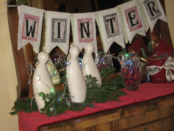 NorthWest Home For The Holidays, Welcome to our new home for it's very first Christmas.  Please make yourself at home., The winter banner I made for my antique pecan dresser in the entry way.     , Holidays Design