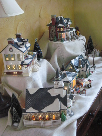 NorthWest Home For The Holidays, Welcome to our new home for it's very first Christmas.  Please make yourself at home., Department 56 Snow Village houses in the great room. , Holidays Design