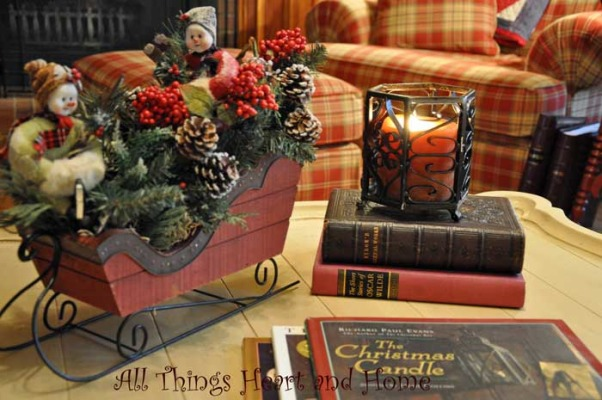 Christmas Open House, Just a peek at how this Southern Girl decks the halls~Welcome!, A couple of sleigh riding friends bring happy to the coffee table, along with some of my favorite seasonal reads...     , Holidays Design